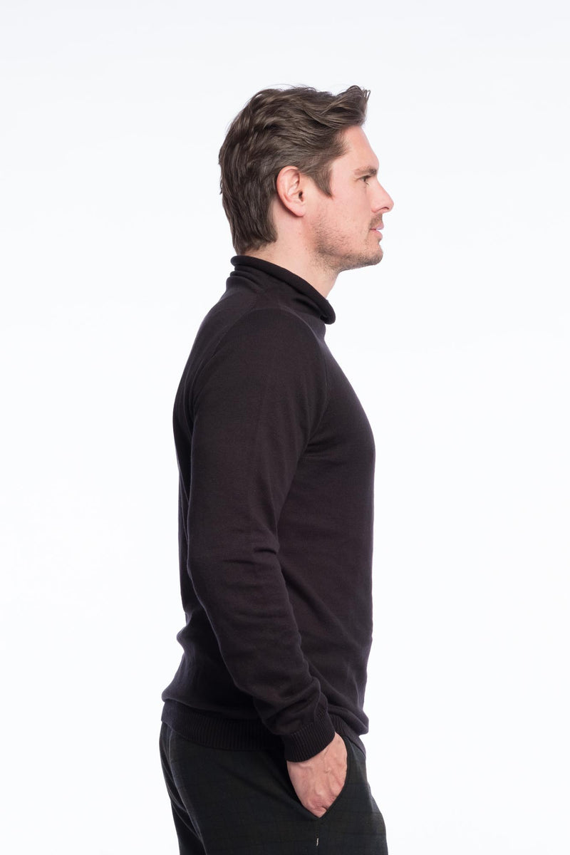 Turtleneck Knit Bio Cotton | Deepblack