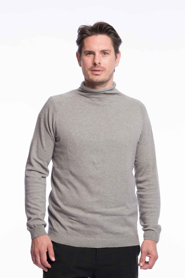 Turtleneck Knit Organic Cotton | Light gray