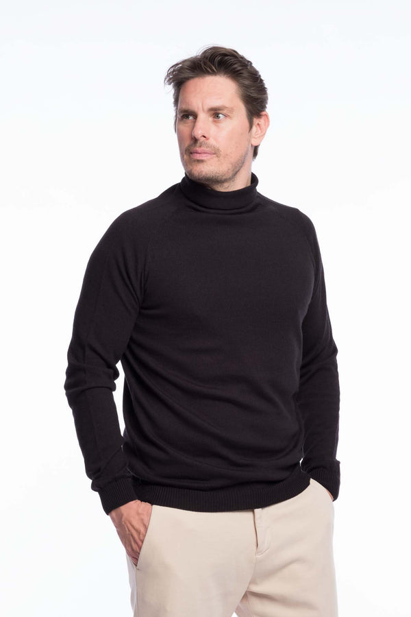 Turtleneck Knit Organic Merino | Deep black