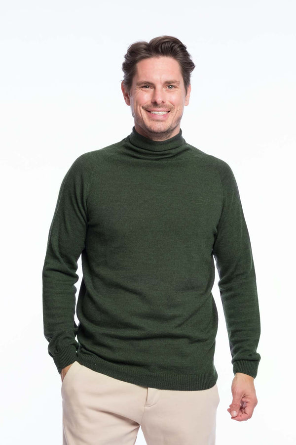 Turtleneck Knit Organic Merino | Green melange