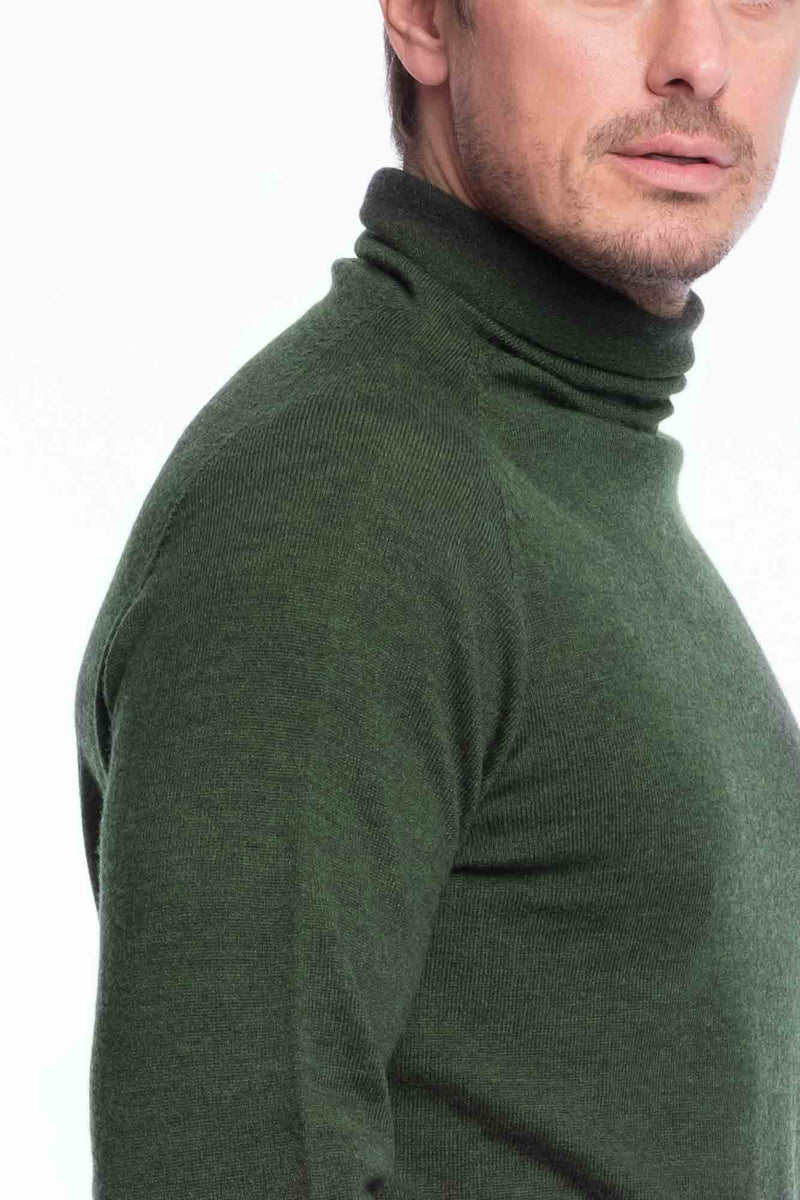 Turtleneck Knit Bio Merino | Green Melange