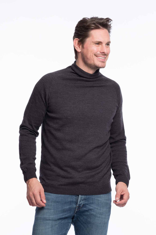 Turtleneck Knit Organic Merino | Gray melange