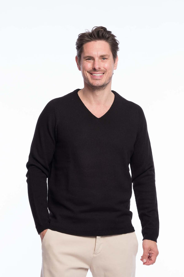 V-Neck Merino Knit Sweater Black