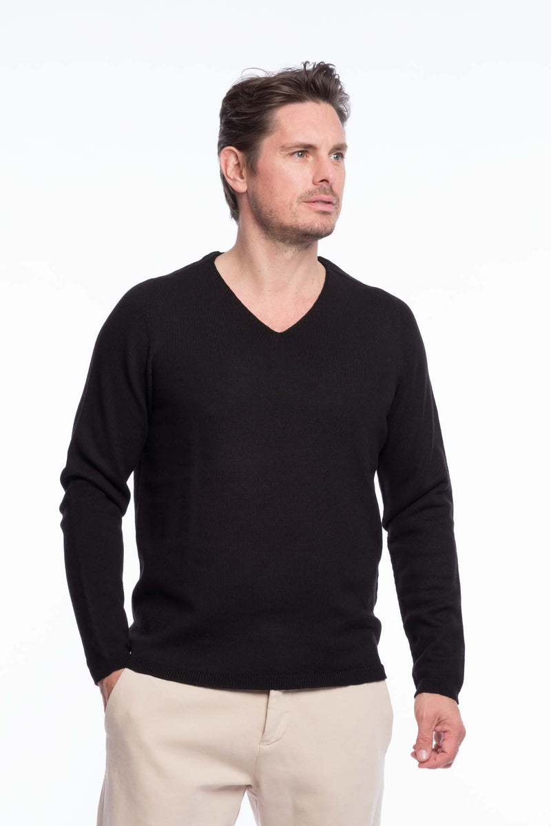 V-Neck Merino Strickpullover Black