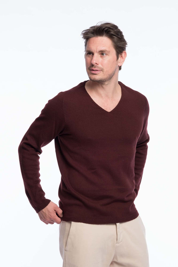 V-Neck Merino Knit Sweater Brown