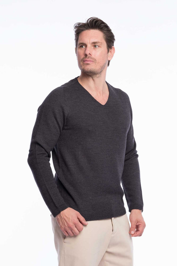 V-Neck Merino Strickpullover Grey