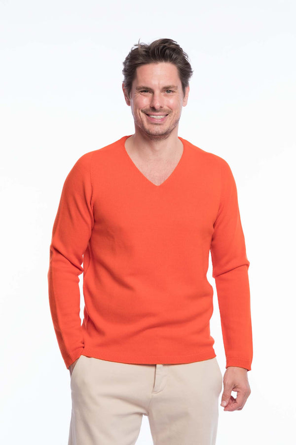 V-Neck Merino Strickpullover Orange