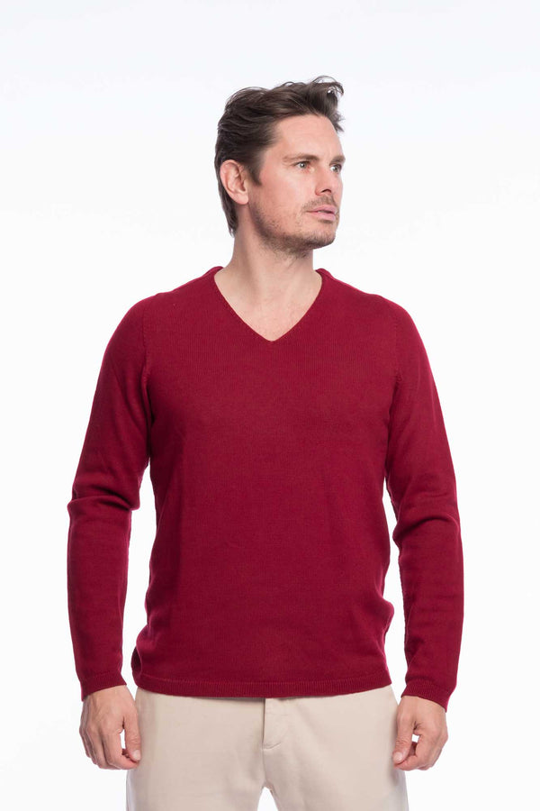 V-Neck Merino Knitted Sweater Red