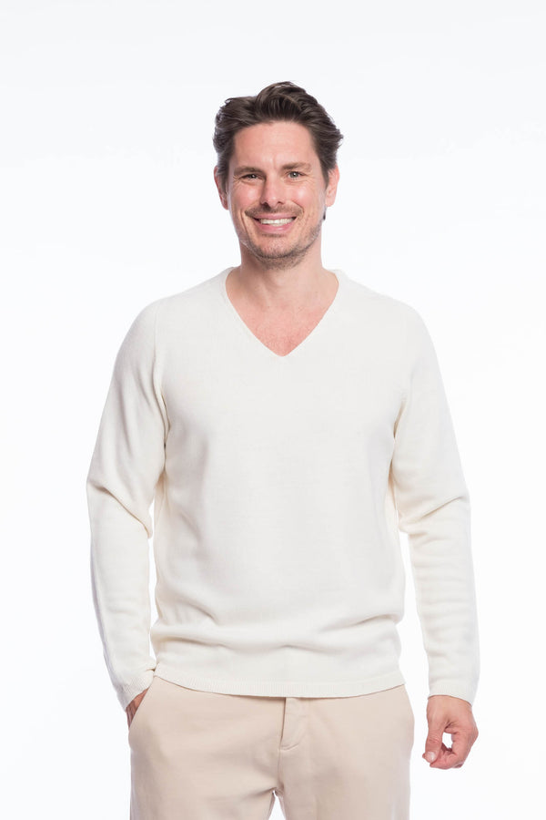 V-Neck Merino Strickpullover White