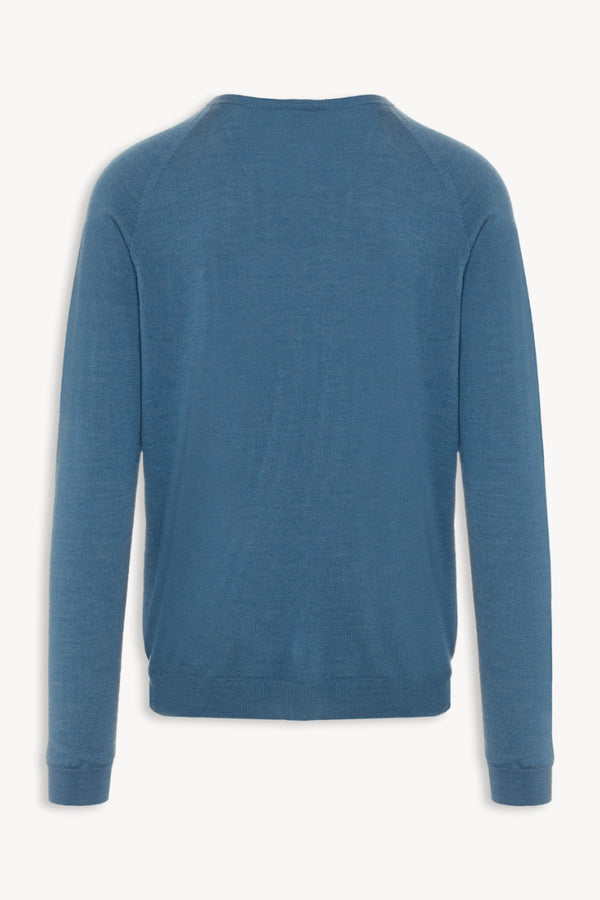 Thin Classic R-Neck Merino Strickpullover | Carolina Blue