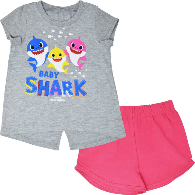 Pinkfong Baby Shark Girls Singing French Terry T-Shirt and Shorts Set SIZE ( 3T) - TD Lil Smiles