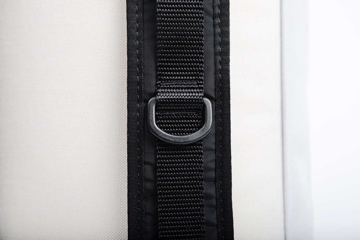 the topo x so ill cosmos bag is shown up close on the back strap webbing