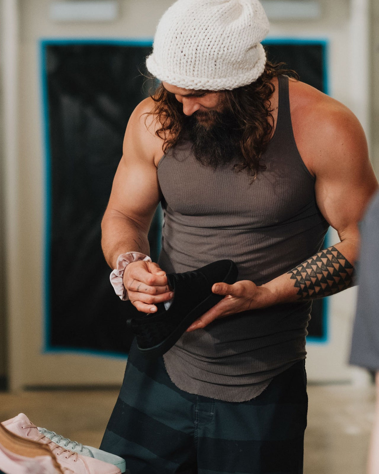 Jason Momoa checks out the So iLL x On The Roam Dirty Pink Wino
