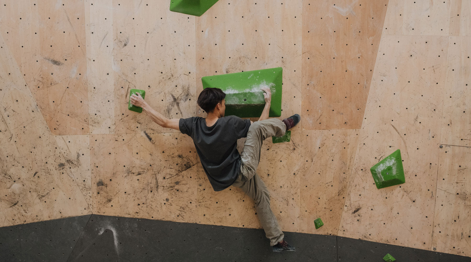 a climber at b pump climbs on the so ill chunks climbing holds
