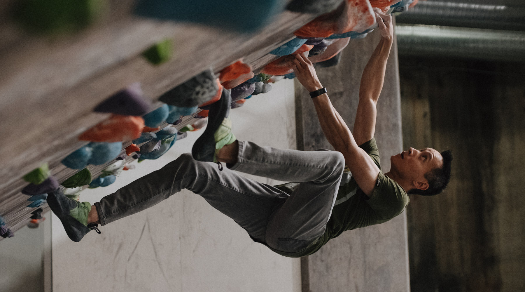 So iLL Grey Denim Climbing Jeans on 60 degree bouldering wall
