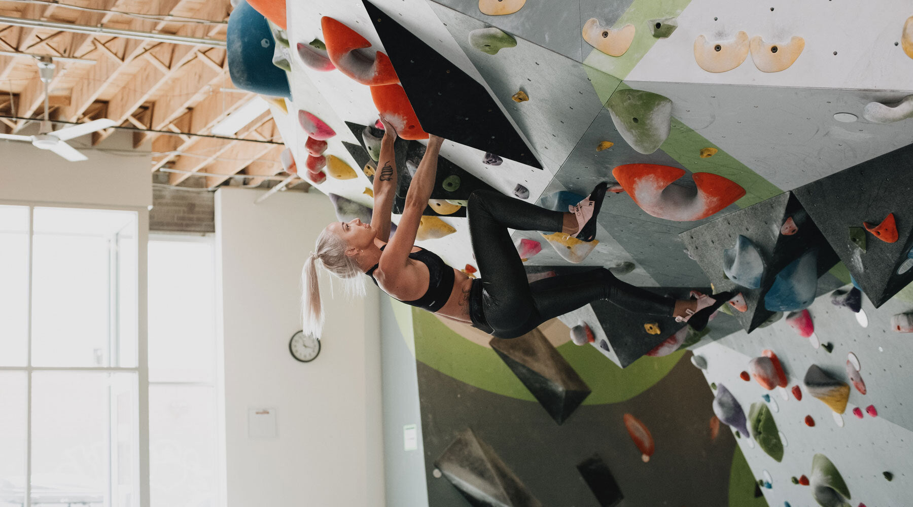 So iLL Free Range lv Climbing Shoe being used inside a climbing gym