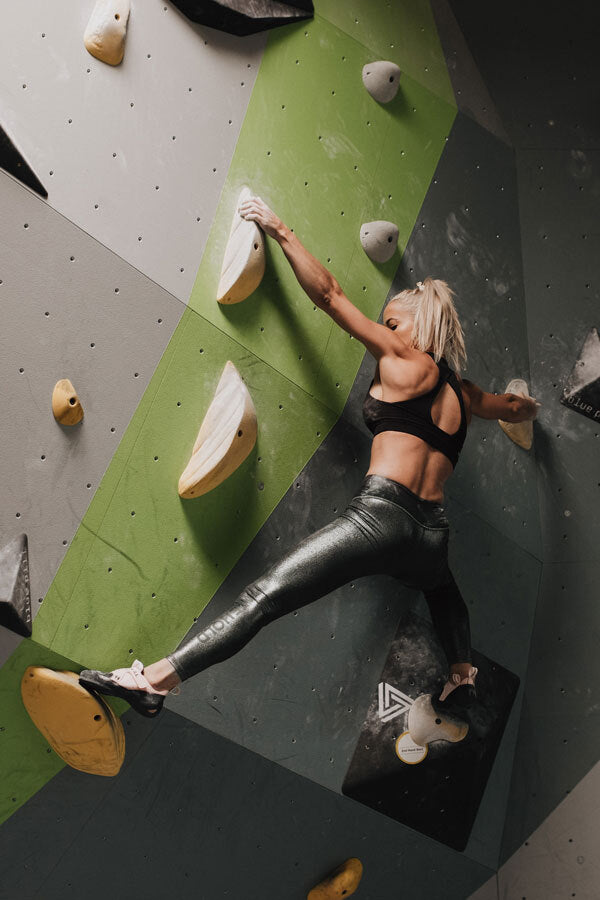So iLL free range LV being climbed in by courtney sanders at a bouldering gym