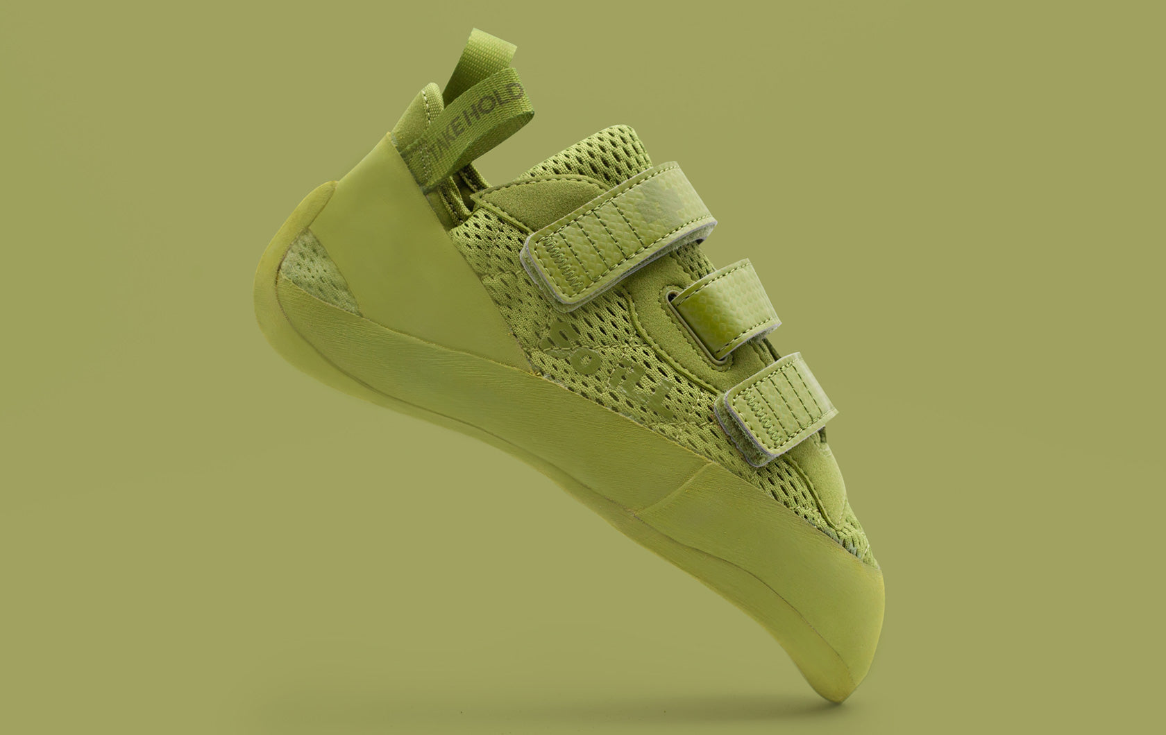 So iLL Olive Green Runner LV Climbing shoe on olive colored background