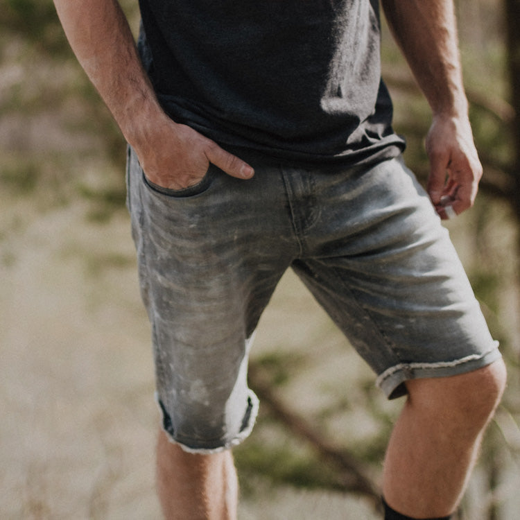 So iLL grey denim climbing shorts shown on man hiking