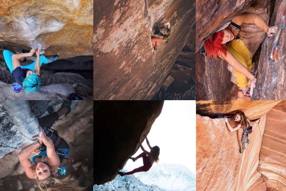 takehold LV climbing pics six images of ladies climbing rocks outdoors