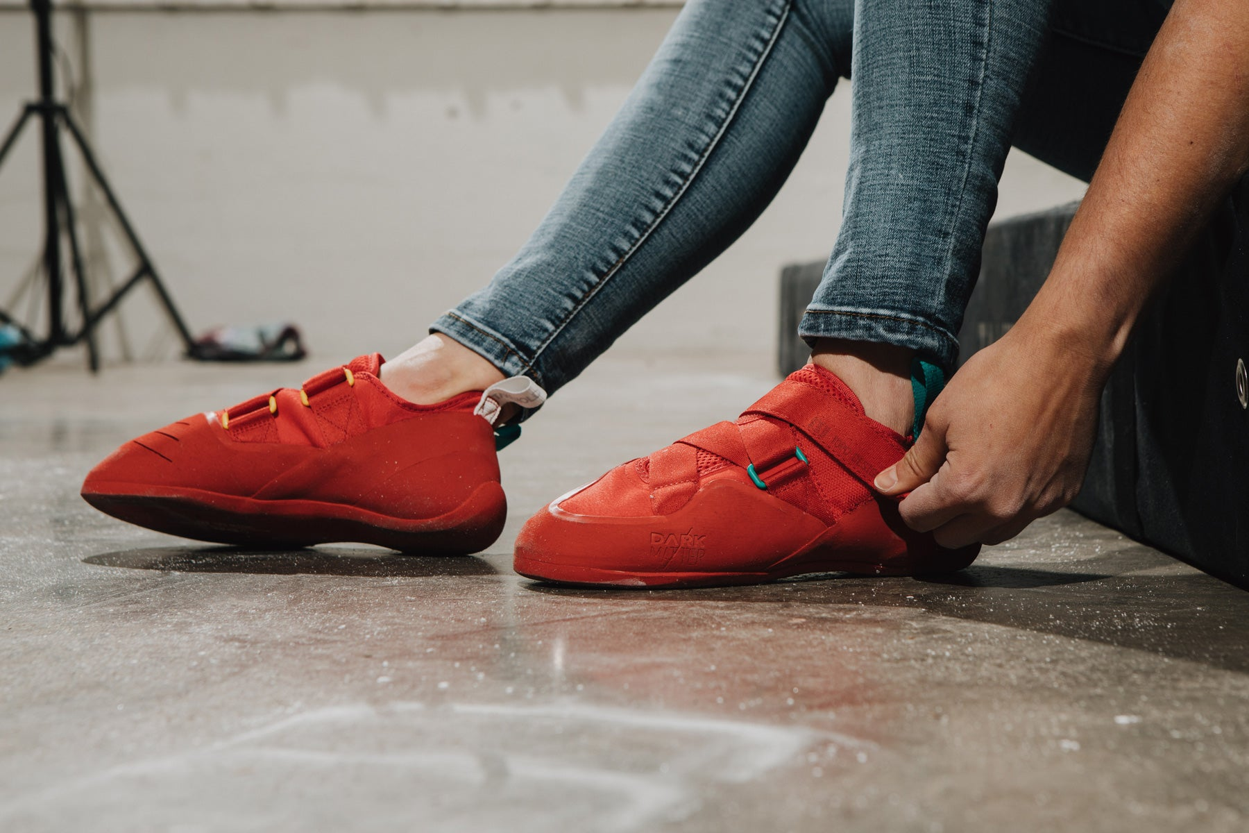 topo x so ill collaboration climbing shoes are worn at an indoor climbing wall