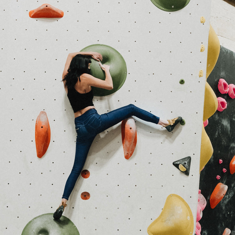 So iLL womens navy active jeans with person climbing in so ill the one pro climbing shoe