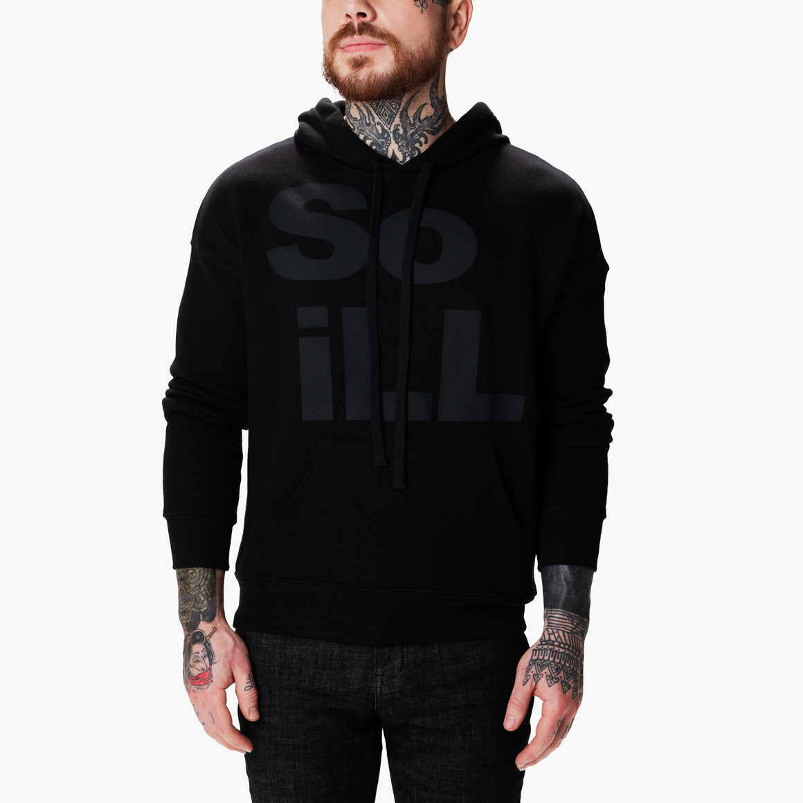 Black Wolf So iLL Stacked Logo Hoodie