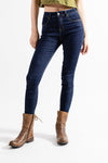 So iLL Women's Indigo Stretchy climbing jeans angle 1 with free range lv shoes on