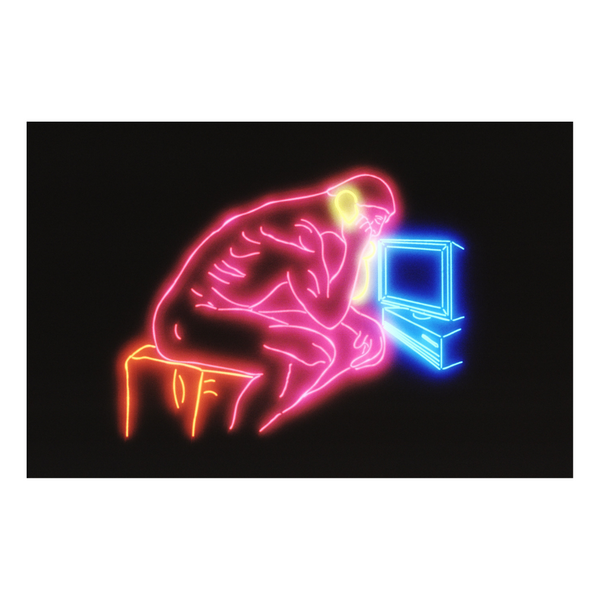 Neon Thinker with Phone
