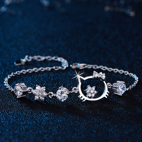 Hello Kitty Beautiful Silver Bracelet Inlaid With Zircon - Hello Kitty Camp