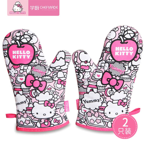 CHEFMADE Hello Kitty Oven Mitts Heat/Slip Resistant Thick Gloves Kitchen Product Baking Tools - Hello Kitty Camp