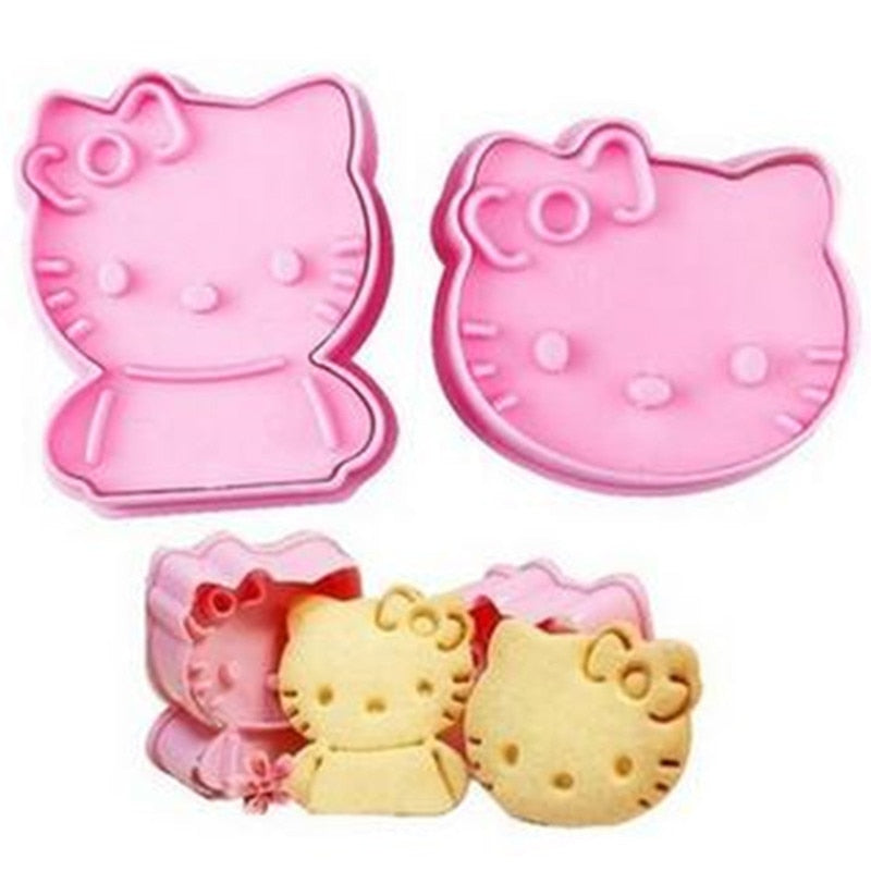 2Sets 4PCS/Lot Plastic Cookie Stamp Kitchen Accessories Baking Tools Carton Kitty Cake Cookie Cutters Fondant Decorating Tools - Hello Kitty Camp
