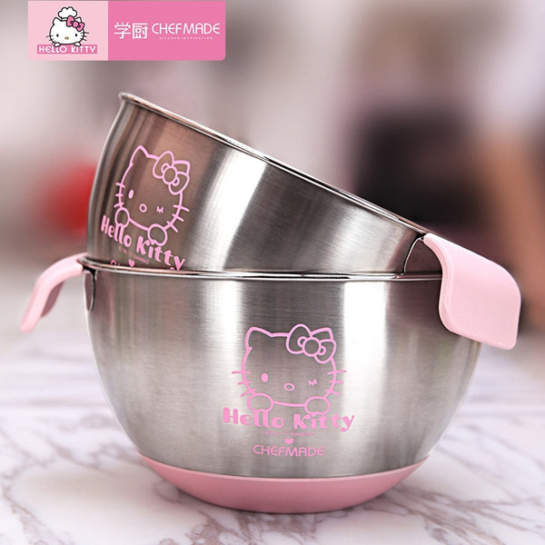 CHEFMADE Hello Kitty Kitchen 304 Stainless Steel With Scaled Egg Bowl Non-slip Silicone Bottom Basin Baking Tools For Cakes - Hello Kitty Camp