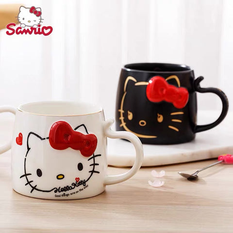 Hello Kitty Mug 450 ml Ceramic Cup With Beautiful Bow 3D Painting Design - Hello Kitty Camp