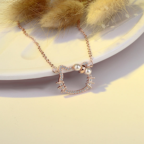 Beautiful Kitty Sliver Necklace Inlaid With High Boutique Zircon - Hello Kitty Camp