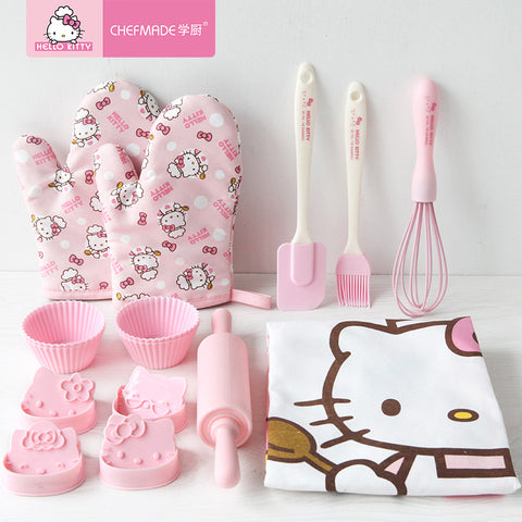 8pcs CHEFMADE Hello Kitty Kitchen Child Parent-child DIY Biscuit Muffin Cake Cookie Tool Set Pink Household Baking Mould Cake Baking Sets - Hello Kitty Camp