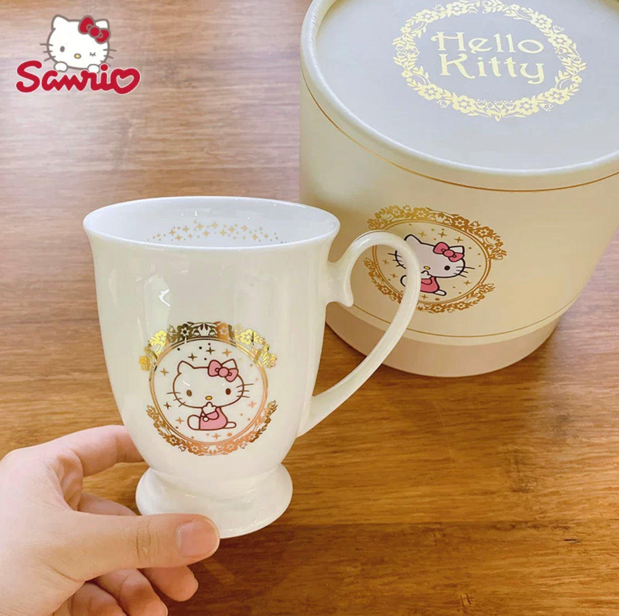Hello Kitty England Style Bone Ceramic Cup 300 ml Elegance With Beautiful Gift Box - Hello Kitty Camp