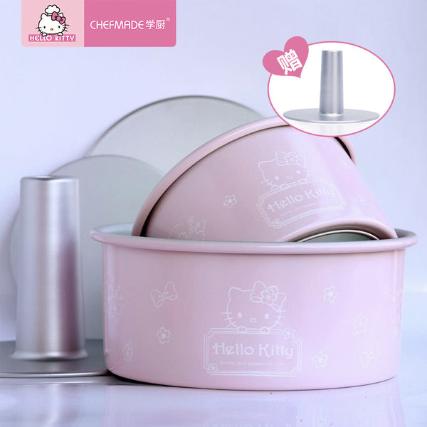 CHEFMADE Hello Kitty Kitchen 6inch/8inch Anode Round Live Bottom Hollow Chiffon Cake Mold Baking Molds Available In The Oven - Hello Kitty Camp