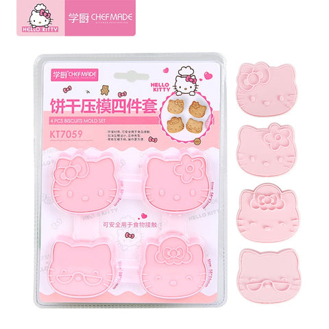 CHEFMADE Hello Kitty Kitchen Cute Cartoon Three-dimensional Cake Cookie Mold 4-piece 3D Silicone Fondant Baking Molds - Hello Kitty Camp