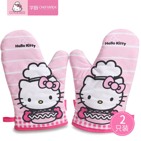 CHEFMADE Hello Kitty Kitchen Oven Mitts Anti-Scalding Gloves Insulated High Temperature Resistant Gloves - Hello Kitty Camp