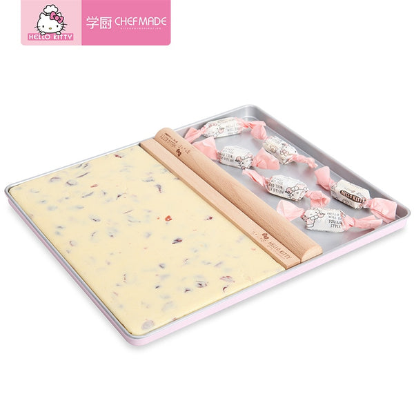 CHEFMADE Hello Kitty Nougat Making Pan Baking Pans Sugar Paper Rolling Pins Pastry Boards Mold Baking Set of 4 - Hello Kitty Camp