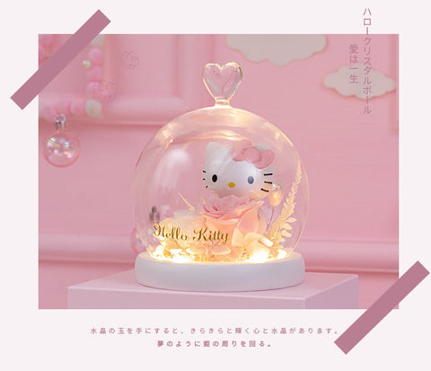 Hello Kitty Preserved Flower Eternal Rose Night Lamp Christmas Gift - Hello Kitty Camp