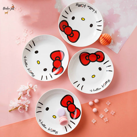Hello Kitty Plate Tableware Set Household Ceramic Bowl Japanese Creative All-China Kitchenware 7 inches 8 inches Porcelain Plate - Hello Kitty Camp