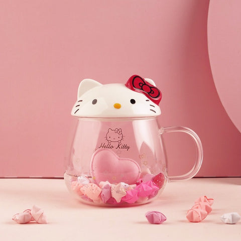 Hello Kitty Pyrex Glass Mug Cup 3D Kitty Head Shape 410 ml - Hello Kitty Camp