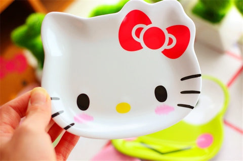 "Hello Kitty Head Shape Melamine Plastic Lightweight and Shatter Resistant 4.5"" Snake Plate Foodware - Hello Kitty Camp"