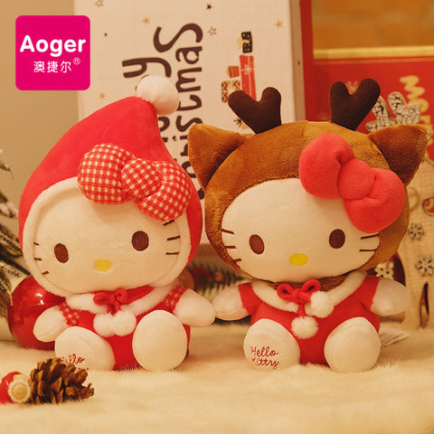 Hello Kitty 8 inch High Christmas Doll Plush Toy - Hello Kitty Camp