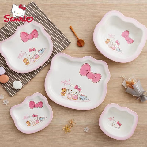 Hello Kitty Tableware Head Shape Lovely Pink Plate Set 2 Bowls 3 Plates - Hello Kitty Camp