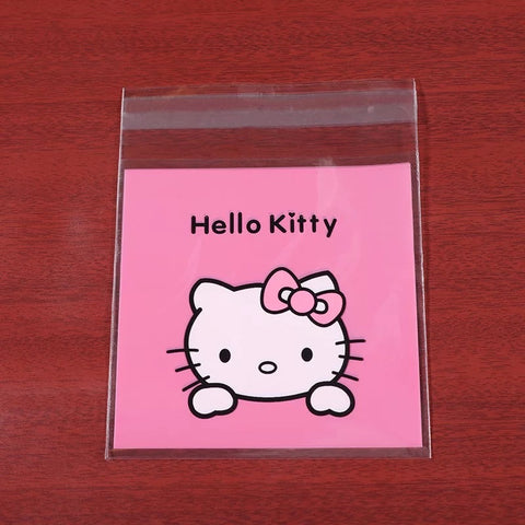 100 pcs Hello Kitty Kitchen Nougat Snowflake Cookies Packing Bag Food Gift Ziplock Bag Baking Decoration Tools - Hello Kitty Camp