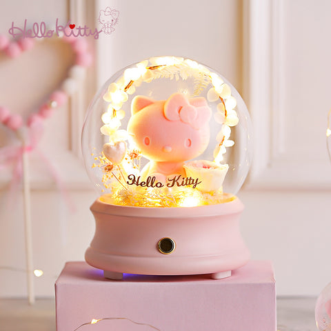 Preserved Fresh Flower Hello Kitty Crystal Ball Wireless Bluetooth Speaker Night Light - Hello Kitty Camp
