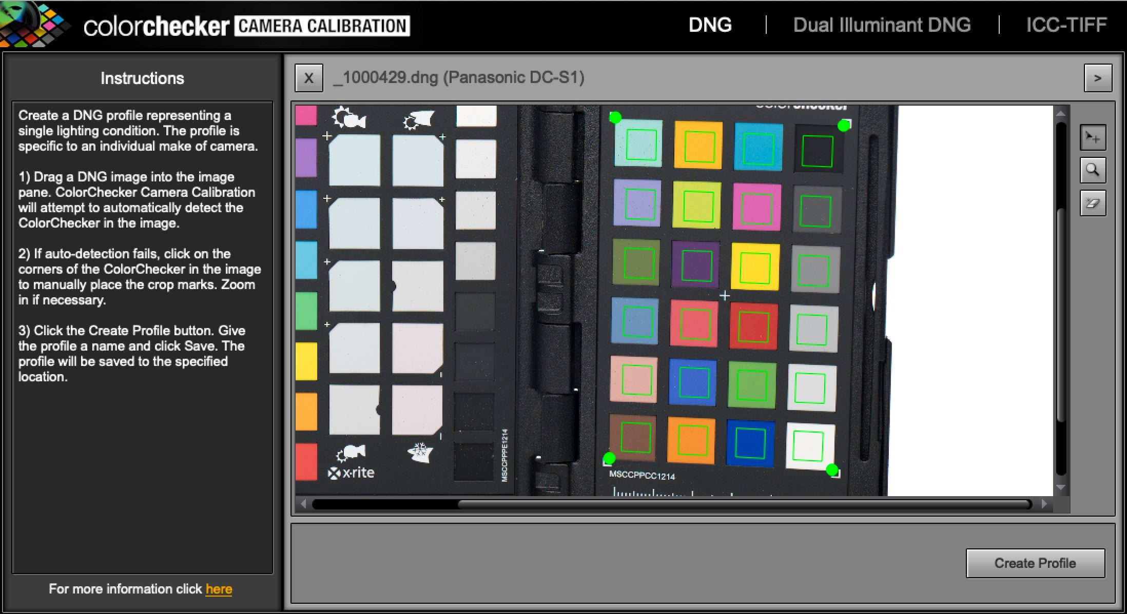 ColorChecker Camera Calibration Software